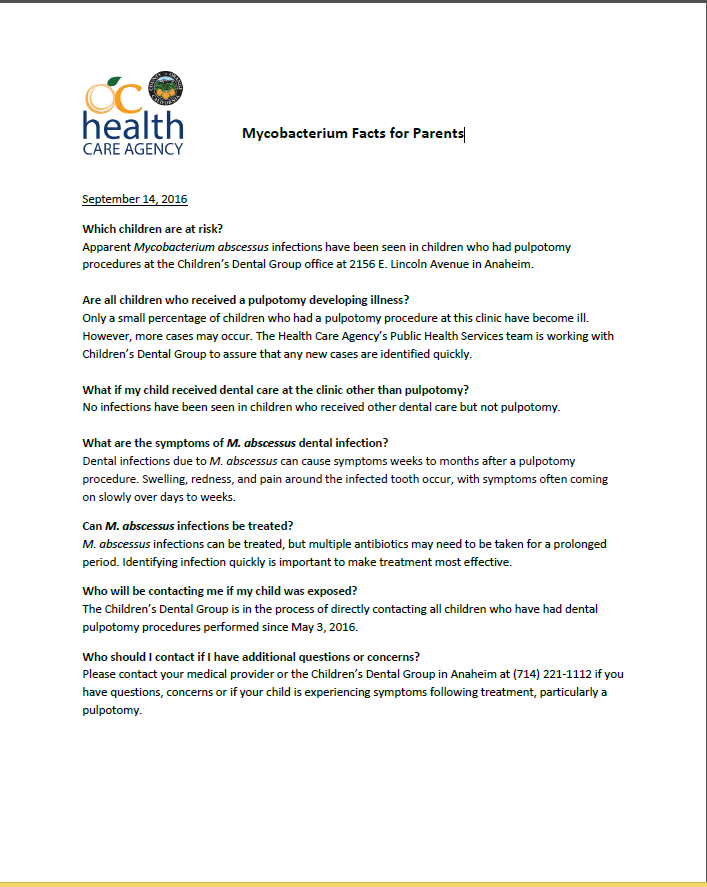 County of Orange Health Care Agency Mycobacterium Facts for Parents
